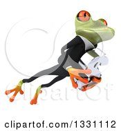 Clipart Of A 3d Green Business Springer Frog Jumping To The Right And Holding A Dollar Symbol Royalty Free Illustration