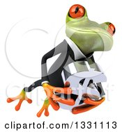 Clipart Of A 3d Green Business Springer Frog Jumping To The Right And Holding A Dollar Symbol 2 Royalty Free Illustration