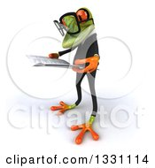 Clipart Of A 3d Bespectacled Green Business Springer Frog Facing Left And Reading A Newspaper Royalty Free Illustration