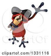 Clipart Of A 3d Red Springer Frog Wearing Sunglasses Leaping And Eating A Waffle Ice Cream Cone Royalty Free Illustration by Julos