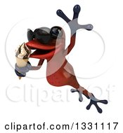 Clipart Of A 3d Red Springer Frog Wearing Sunglasses Leaping Slightly Left And Eating A Waffle Ice Cream Cone Royalty Free Illustration by Julos