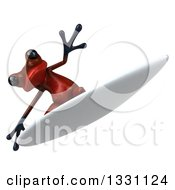Clipart Of A 3d Red Springer Frog Surfing 3 Royalty Free Illustration by Julos