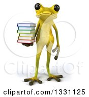 Clipart Of A 3d Light Green Springer Frog Holding A Stack Of Books Royalty Free Illustration