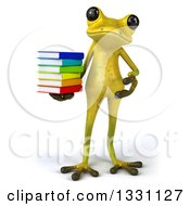 Clipart Of A 3d Light Green Springer Frog Holding And Presenting A Stack Of Books Royalty Free Illustration by Julos