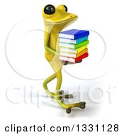 Clipart Of A 3d Light Green Springer Frog Walking To The Right And Holding A Stack Of Books Royalty Free Illustration by Julos