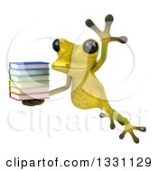 Clipart Of A 3d Light Green Springer Frog Leaping Slightly Left And Holding A Stack Of Books Royalty Free Illustration by Julos