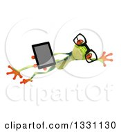 Clipart Of A 3d Bespectacled Argie Frog Leaping To The Right And Holding A Smart Phone Or Tablet Computer Royalty Free Illustration