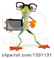 Clipart Of A 3d Bespectacled Argie Frog Pointing To And Holding A Smart Phone Or Tablet Computer 2 Royalty Free Illustration