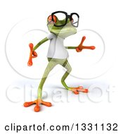Clipart Of A 3d Bespectacled Casual Green Springer Frog Wearing A White T Shirt And Dancing 2 Royalty Free Illustration