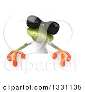 Clipart Of A 3d Casual Green Springer Frog Wearing A White T Shirt And Sunglasses Over A Sign Royalty Free Illustration