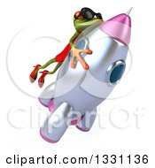 Clipart Of A 3d Green Female Frog Wearing Sunglasses And Riding A Rocket 3 Royalty Free Illustration