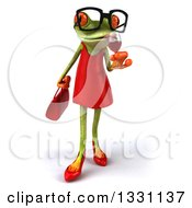 Clipart Of A 3d Bespectacled Green Female Springer Frog Sipping A Glass Of Red Wine Royalty Free Illustration by Julos