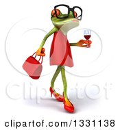 Clipart Of A 3d Bespectacled Green Female Springer Frog Walking To The Right And Holding A Glass Of Red Wine Royalty Free Illustration by Julos
