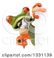 Clipart Of A 3d Green Springer Frog Eating A Waffle Ice Cream Cone Around A Sign Royalty Free Illustration