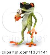 Clipart Of A 3d Green Springer Frog Wearing Sunglasses Walking To The Left And Eating A Waffle Ice Cream Cone Royalty Free Illustration