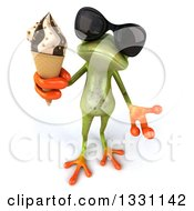 Clipart Of A 3d Green Springer Frog Wearing Sunglasses Looking Up Shrugging And Holding A Waffle Ice Cream Cone Royalty Free Illustration
