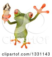 Clipart Of A 3d Green Springer Frog Holding A Waffle Ice Cream Cone And Jumping Royalty Free Illustration