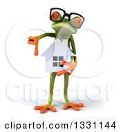Clipart Of A 3d Bespectacled Green Springer Frog Holding A House And Giving A Thumb Down Royalty Free Illustration