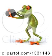 Clipart Of A 3d Green Springer Frog Facing Left Taking Pictures With A Camera Royalty Free Illustration