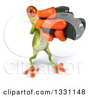 Clipart Of A High Angle View Of A 3d Green Springer Frog Facing Slightly Right Taking Pictures With A Camera Royalty Free Illustration