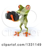 Clipart Of A High Angle View Of A 3d Green Springer Frog Facing Left Taking Pictures With A Camera Royalty Free Illustration