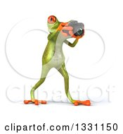 Clipart Of A 3d Green Springer Frog Walking To The Right And Taking Pictures With A Camera Royalty Free Illustration
