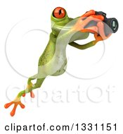 Clipart Of A 3d Green Springer Frog Leaping To The Right And Taking Pictures With A Camera 2 Royalty Free Illustration