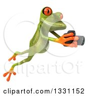 Clipart Of A 3d Green Springer Frog Leaping To The Right And Taking Pictures With A Camera Royalty Free Illustration