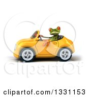 Clipart Of A 3d Green Springer Frog Facing Left Driving A Yellow Car Royalty Free Illustration