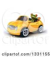 Clipart Of A 3d Green Springer Frog Facing Slightly Left Giving A Thumb Down And Driving A Yellow Car Royalty Free Illustration