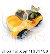 Clipart Of A 3d Green Springer Frog Facing Slightly Left Looking Up And Driving A Yellow Car Royalty Free Illustration