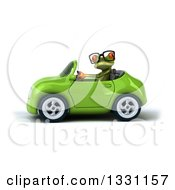 Clipart Of A 3d Bespectacled Green Springer Frog Driving A Yellow Car Royalty Free Illustration