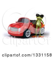 Clipart Of A 3d Green Springer Frog Wearing Sunglasses And Presenting A Red Car Royalty Free Illustration