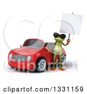 Clipart Of A 3d Green Springer Frog Wearing Sunglasses And Holding A Blank Sign By A Red Car Royalty Free Illustration