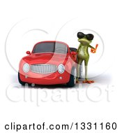 Clipart Of A 3d Green Springer Frog Wearing Sunglasses And Giving A Thumb Up By A Red Car Royalty Free Illustration