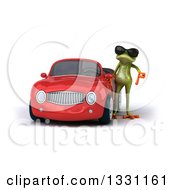 Clipart Of A 3d Green Springer Frog Wearing Sunglasses And Giving A Thumb Down By A Red Car Royalty Free Illustration