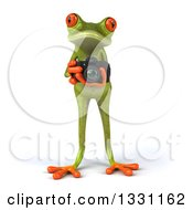 3d Green Springer Frog Taking Pictures With A Camera