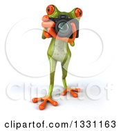 Clipart Of A 3d Green Springer Frog Taking Pictures With A Camera 2 Royalty Free Illustration