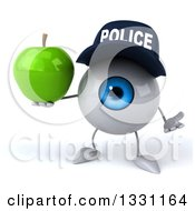 Clipart Of A 3d Blue Police Eyeball Character Shrugging And Holding A Green Apple Royalty Free Illustration