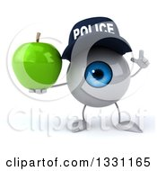 Clipart Of A 3d Blue Police Eyeball Character Holding Up A Finger And A Green Apple Royalty Free Illustration
