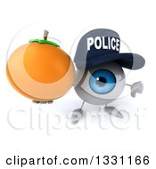 Clipart Of A 3d Blue Police Eyeball Character Holding Up A Thumb Down And A Navel Orange Royalty Free Illustration