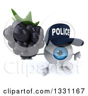 Clipart Of A 3d Blue Police Eyeball Character Holding Up A Thumb Down And Blackberry Royalty Free Illustration
