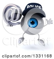 Clipart Of A 3d Blue Police Eyeball Character Jumping And Holding An Email Arobase At Symbol Royalty Free Illustration