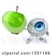 Clipart Of A 3d Blue Eyeball Character Holding Up A Green Apple Royalty Free Illustration
