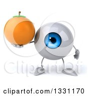 Clipart Of A 3d Blue Eyeball Character Holding A Navel Orange Royalty Free Illustration