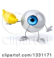 Clipart Of A 3d Blue Eyeball Character Shrugging And Holding A Banana Royalty Free Illustration