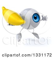 Clipart Of A 3d Blue Eyeball Character Facing Slightly Right Jumping And Holding A Banana Royalty Free Illustration