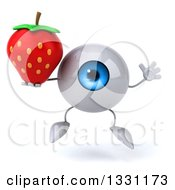 Clipart Of A 3d Blue Eyeball Character Jumping And Holding A Strawberry Royalty Free Illustration