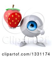 Clipart Of A 3d Blue Eyeball Character Holding And Pointing To A Strawberry Royalty Free Illustration