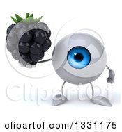 Clipart Of A 3d Blue Eyeball Character Holding A Blackberry Royalty Free Illustration